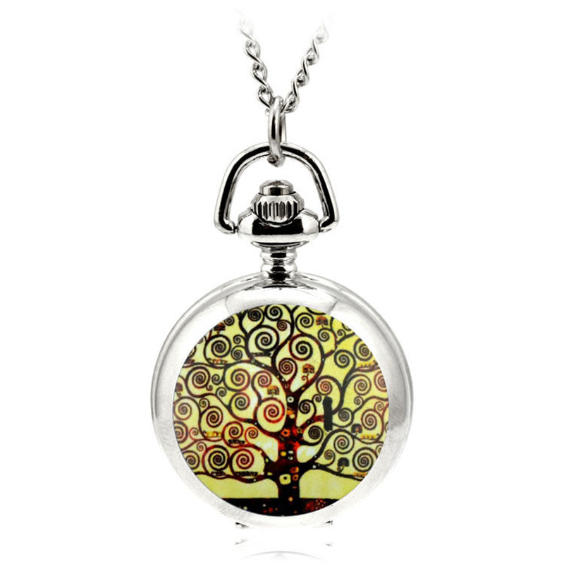 Pocket & Fob Watch Antique Retro Wishing Tree Quartz Pocket Watch Necklace Pendant Sweater Chain Women Clock Gift Ladies Jewelry