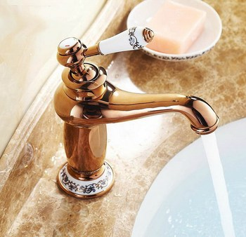 Bathroom Faucet Rose Gold Copper finish Ceramic Flower Pattern Brass Basin Sink Faucet Single Handle water taps anf502