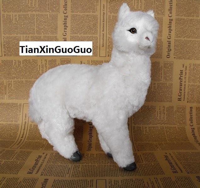 simulation white alpaca large 23x10x24cm model,polyethylene& fur handicraft toy home decoration Xmas gift b3734