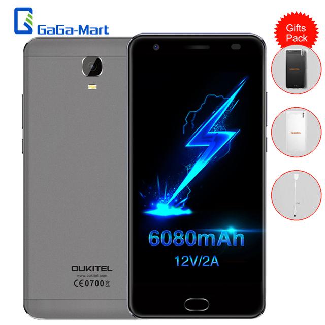 6080mAh OUKITEL K6000 Plus 4G LTE Smartphone Android 7.0 MTK6750T Octa Core 4GB+64GB 8MP+16MP 12V/2A 5.5 Inch Mobile Phone