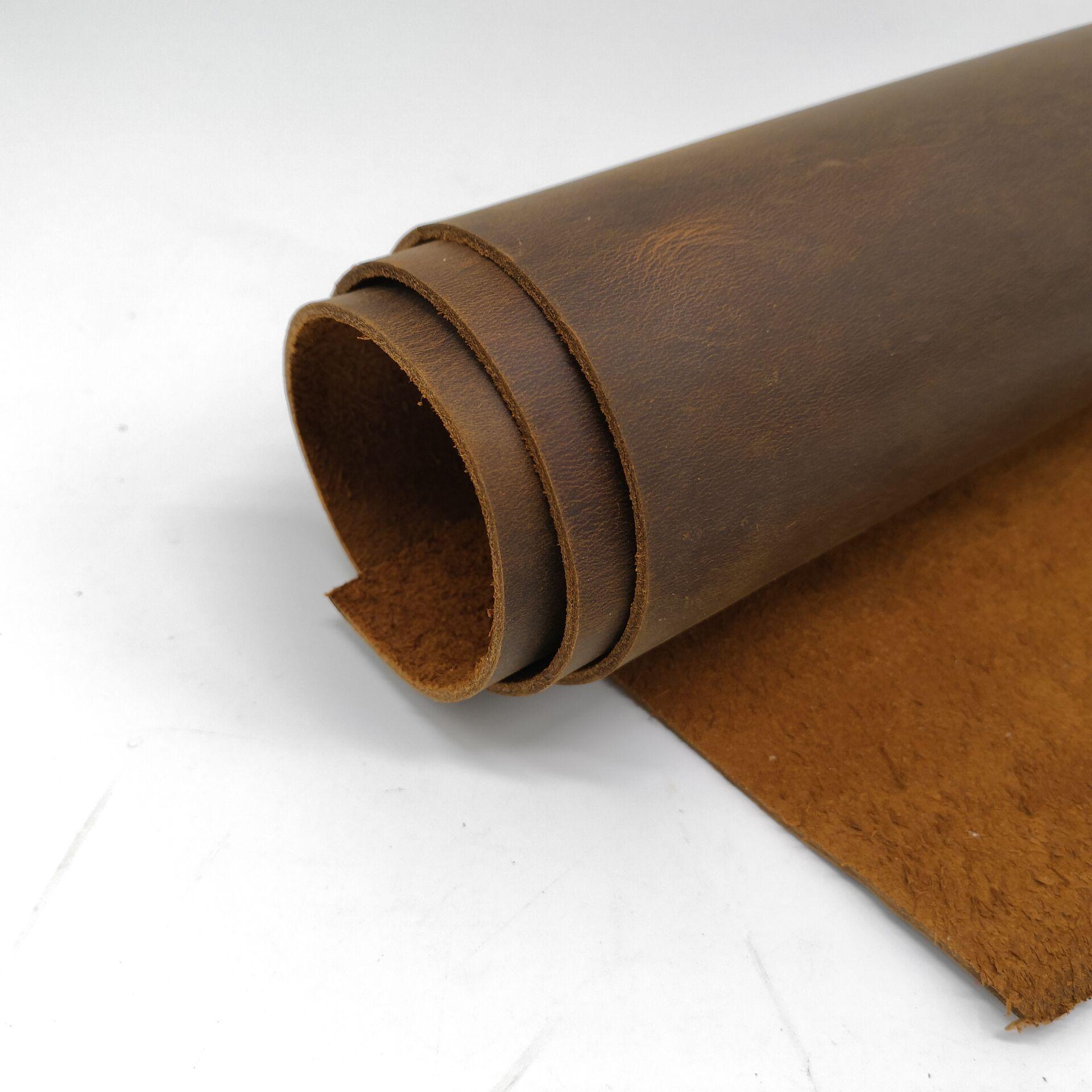 Dark Orange Natural Cow Skin Leather Crazy Horse Leather Color Genuine Leather For Diy Leather Craft For Belt Wallet Bag Shoes