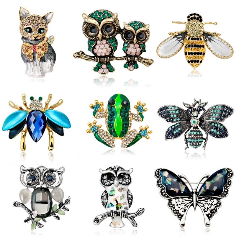Broches de animales e insectos de cristal Vintage, broche de abeja, pollo, pájaro, gato, búho, Rana, mariposa, abeja, broche, ramillete, joyería de fiesta para mujer
