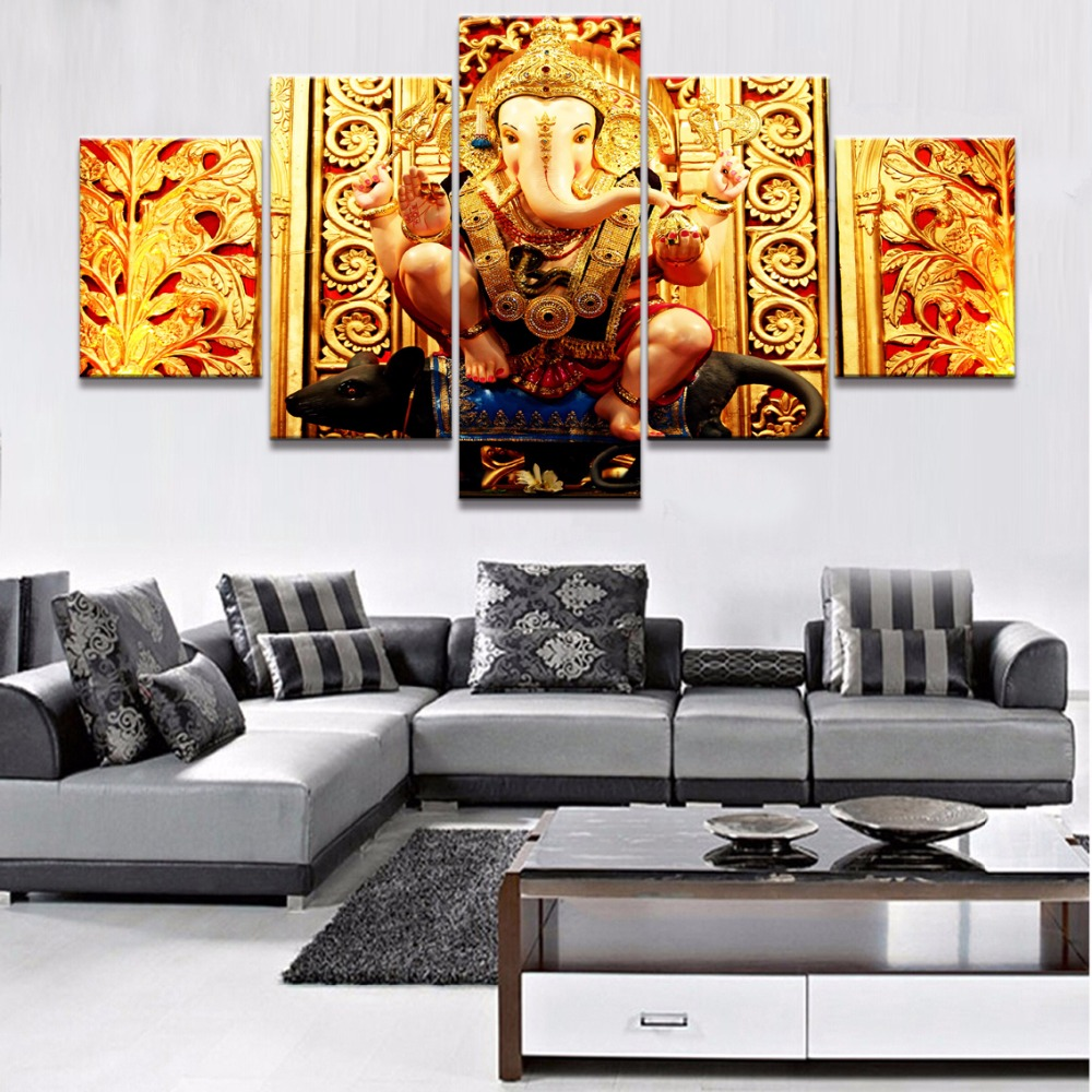 5 Piece HD Print Ganesh Elephant Trunk Indian God Modular Paintings on Canvas Wall Art for Home Decorations Wall Decor Artwork