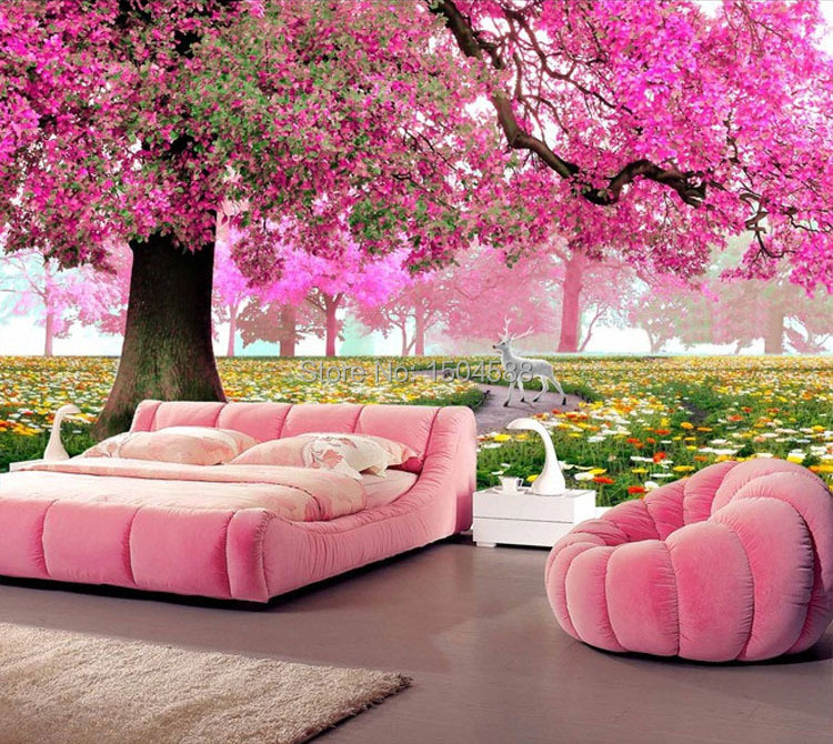 Custom Any Size 3D Romantic Pink Woods Mural Home Decor Wall Paper ...