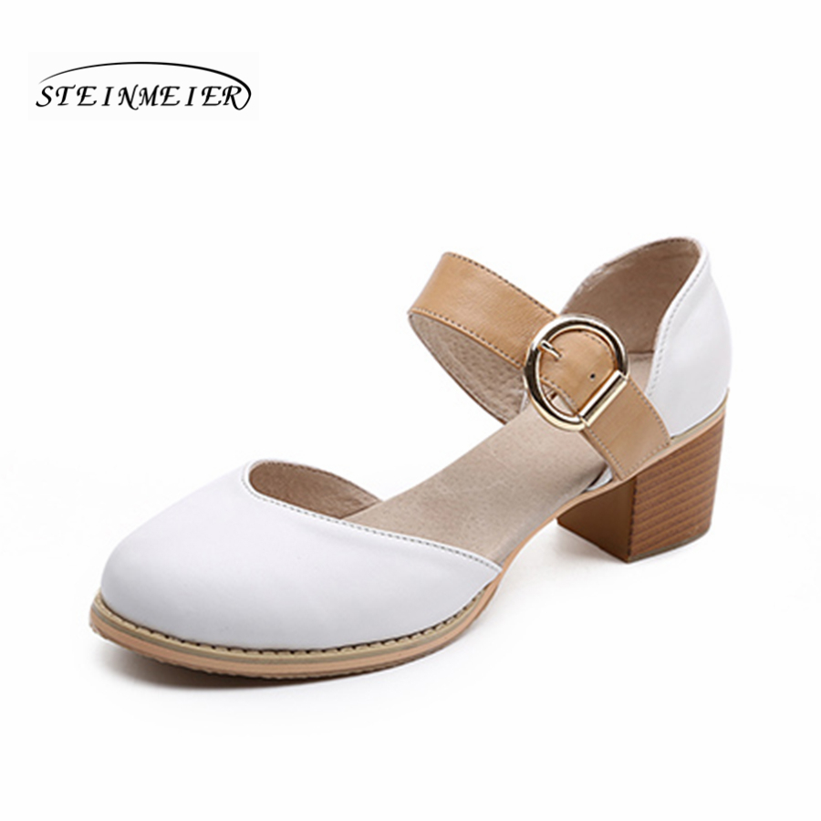 Femmes en cuir véritable d'été sandales chaussures 5 cm talon épais à la main bout rond oxford chaussures pour femmes sandales blanc noir boucle-in Sandales femme from Chaussures    3