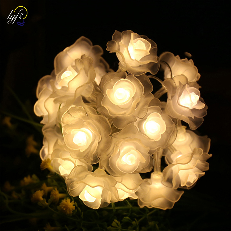 Feimefeiyou Battery Operated Rose String Lights 2m 20 LED Flower Fairy Light String For Indoor And Outdoor
