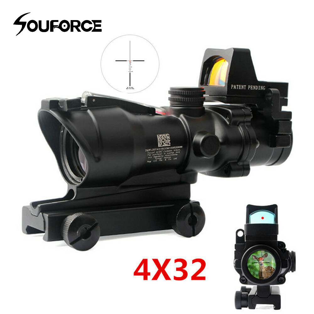 Tactical Hunting Rifle Scope Optic Sight Green Red Fiber ACOG 4X32 With RMR Red Dot  Illuminated For Airsoft Shooting