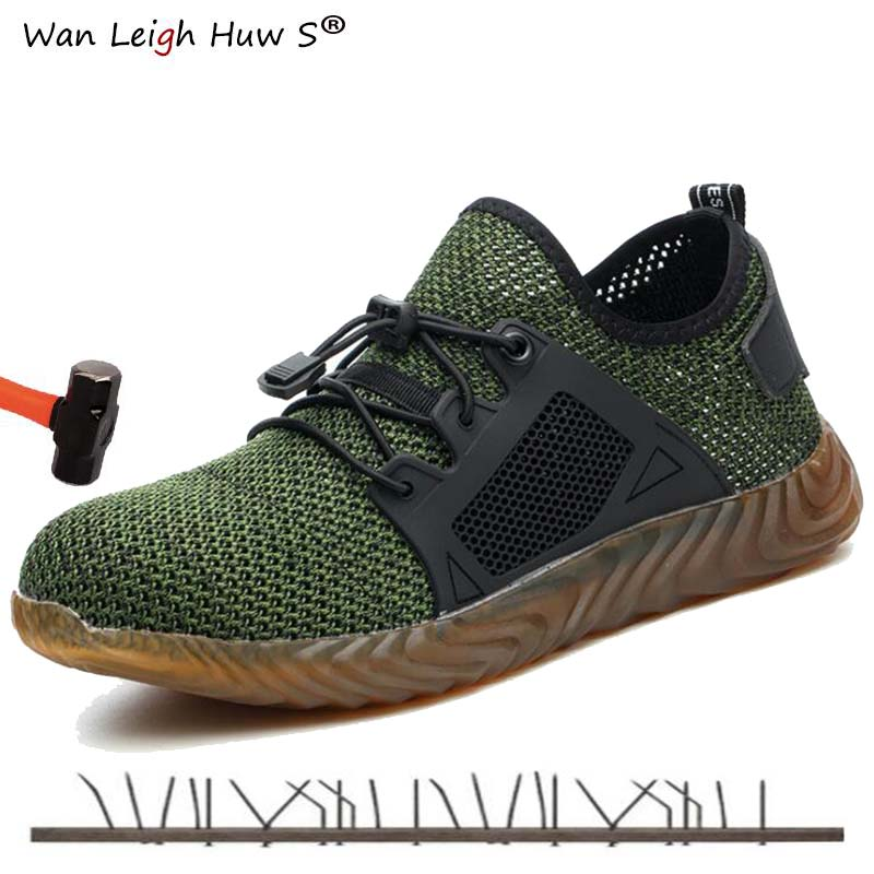 Wan Leigh Huw S 2019 brand steel toe women men work safety boots mid sole impact resistant soft male shoes plus size 36-48