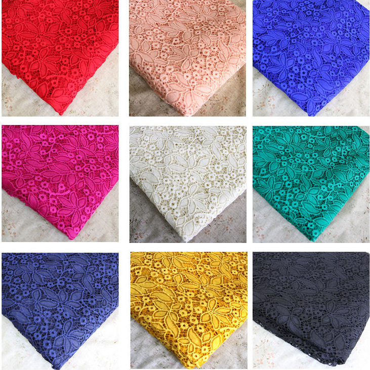 Free Shipping 15 Color Delicate Lace Thicken Fabric Cloth Elastic Hollow Out Flowers DIY Cake Skirt Fabric Cloth RS132