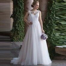 Boho proste elegancka linia suknia ślubna księżniczka Sheer O Neck bez rękawów Tulle Appliqued pociąg suknia ślubna darmowa wysyłka