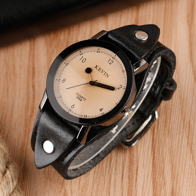 KEVIN Steampunk Watch Wrist Rock Cool Quartz Wristwatch Unique Matchstick Leather Band Strap Casual Punk Fashion Unisex Clock цена