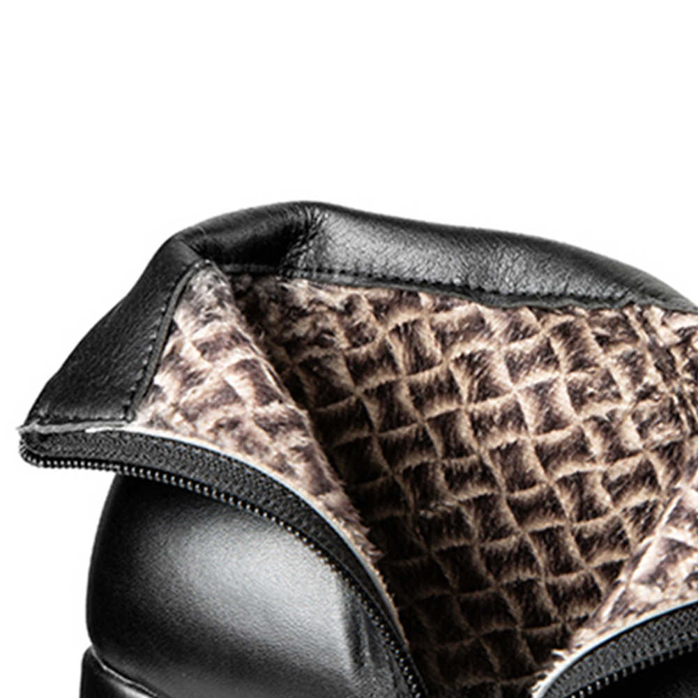 BONJOMARISA Popüler Klasik Kadın yarım çizmeler Artı Boyutu 32-43 6.5 cm Yüksek Kare Topuklu Beyaz çizmeler kadın ayakkabıları