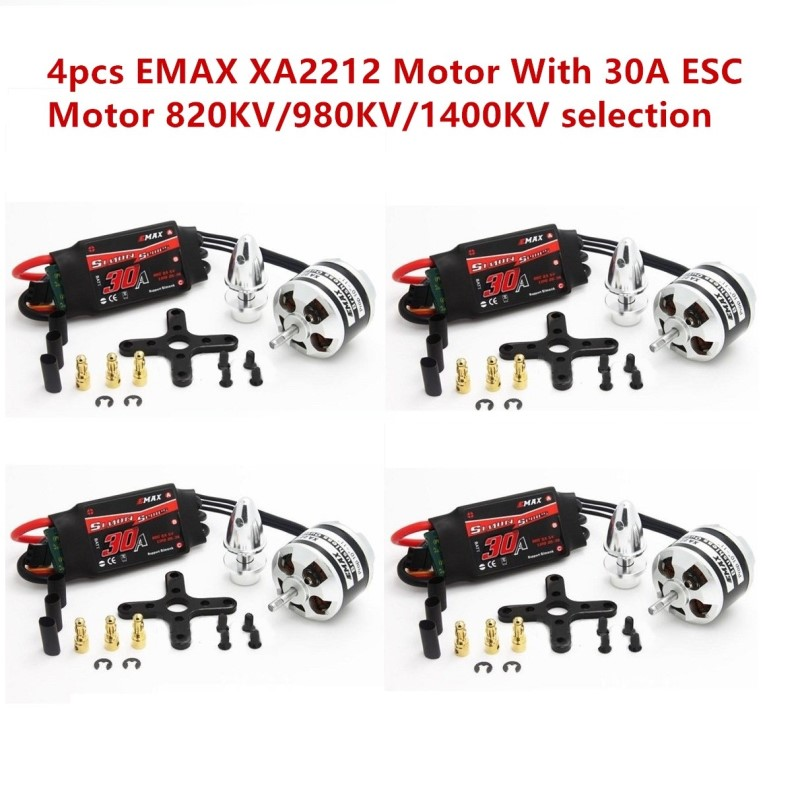 4Pcs EMAX XA2212 820KV 980KV 1400KV Brushless Motor With Simonk 30A ESC For RC Model 4set lot original emax emax xa2212 820kv 980kv 1400kv 3s brushless motor for mini 250 280 fpv quadcopter quadcopter