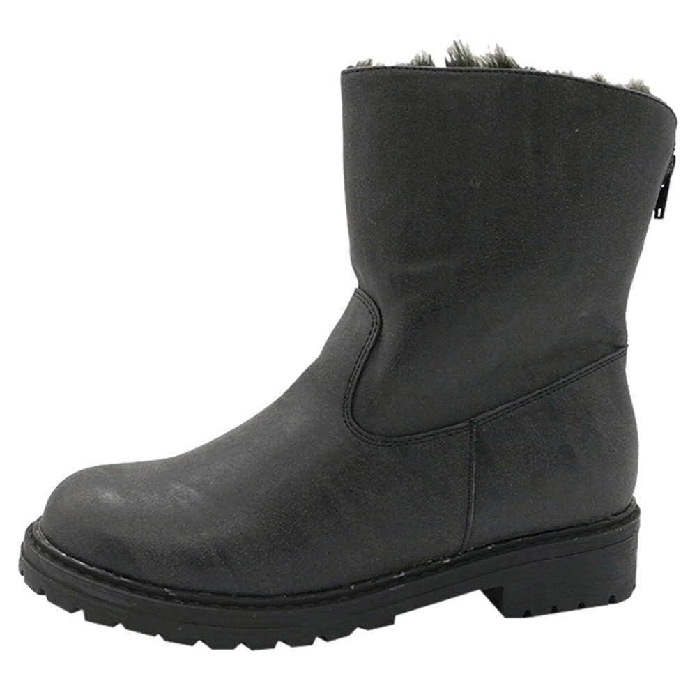 san francisco 9ab4b 06e78 Mujer De Negro Scrub Retro Martin gris Keep 2018nov6 Medio Bajo Costura  Botas Redonda Zapatos Tubo ...