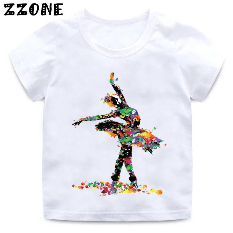 Baby Girls I Love Ballet Dancing Girl Design T shirt Kids Casual Clothes Enfant Summer White T-shirt,HKP5191