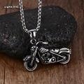 Mprainbow Man's Vintage Gothic Ghost Rider Pendants Stainless Steel Motorcycle motor bike Pendant Necklace