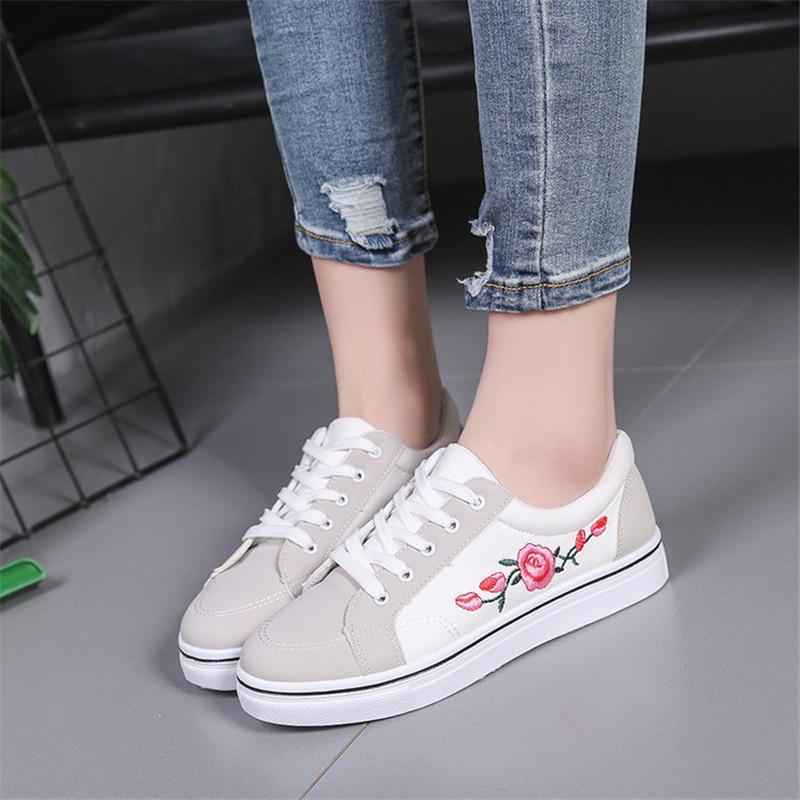 WENYUJH White Vulcanize Shoes Breathable Flats Female Platform Sneakers Women Canvas Shoes Lace-up Floral Casual Women ShoesWENYUJH White Vulcanize Shoes Breathable Flats Female Platform Sneakers Women Canvas Shoes Lace-up Floral Casual Women Shoes