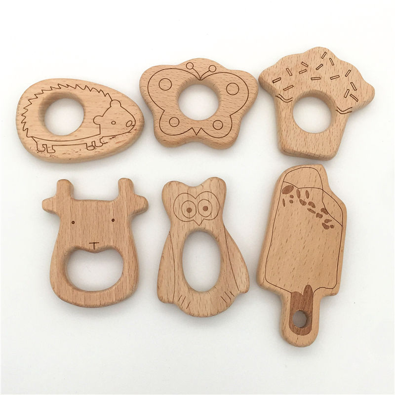 Set of3-6pcs,Senior beech wood teething,Laser printing:butterfly,ice cream,cake,owl,cow,wood crafts for baby boy gift chew toys.