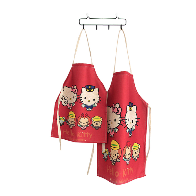 S L Size Linen Hello Kitty Cartoon Parent Child Aprons Cooking