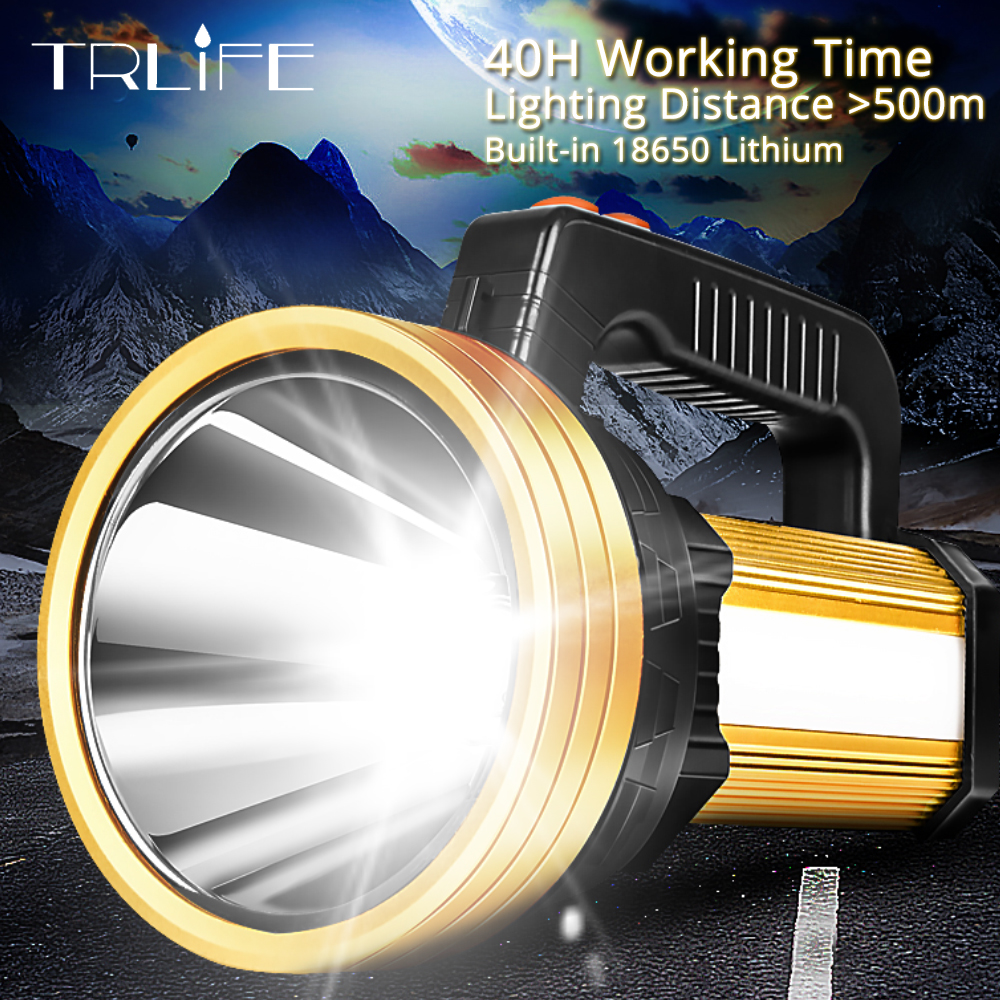 160W Ultra Powerful LED Searchlight USB Charging Flashlight Rechargeable Built in 18650 Battery Tactical Torch 40H