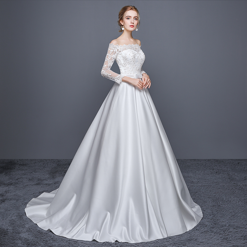 Wedding Dress Elegant White Boat Neck Long Sleeves Zipper Back Ball Gown  Court Train Tulle Satin Simple Vestido De Novia 2018-in Wedding Dresses  from ... 44ae615fa9e0