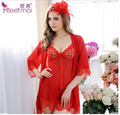 2016 New Summer Sexy 3 pcs robe+nightgown+Thongs women robe set Transparent lace women sexy robes