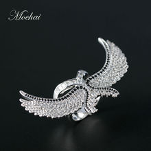 2016 New 18k Gold Punk Wide Eagle Wing Rings Luxury AAA Cubic Zirconia Micro Pave Setting Copper Base Jewelry Hot Sale ZK30