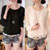 New Fashion High Quality Summer Autumn Women Clothing Lace Spliced Chiffon Blouse Ladies Top Shirt