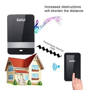 Image 5 - Saful Wireless Doorbell Self powered ไม่มีแบตเตอรี่กันน้ำ 150M EU/AU/US/UK Plug push ปุ่มประตูเก่าคน