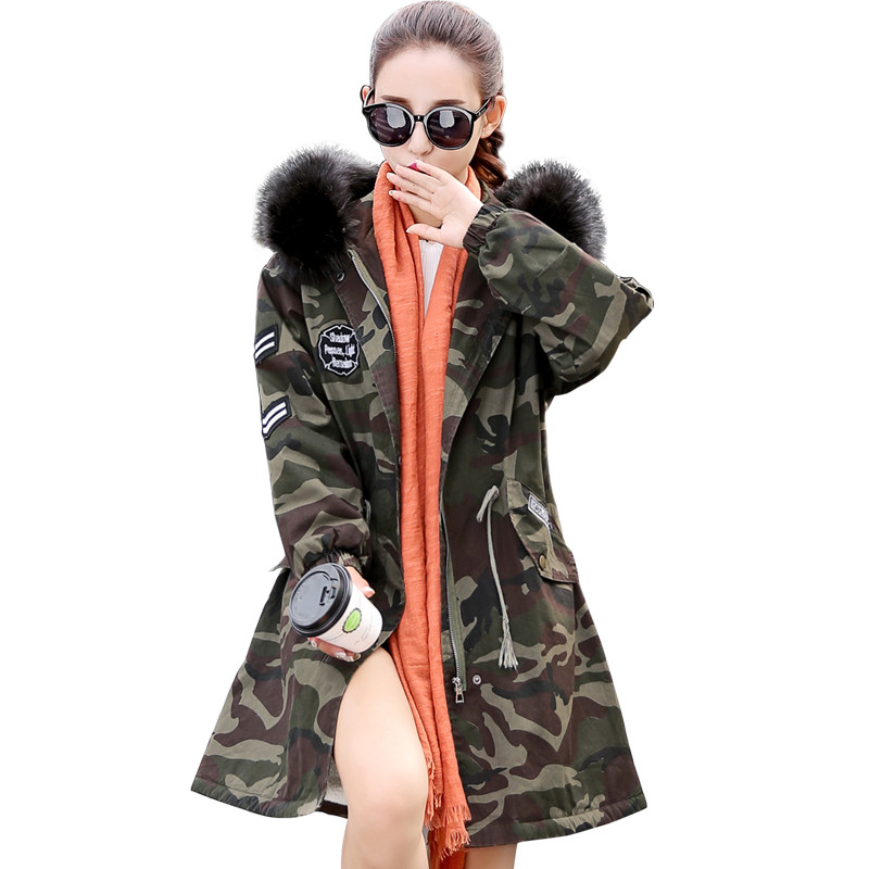 New Women Camouflage Jacket Coat Fur Collar Hooded Lamb Wool Warm Parkas Military Overcoat Female Winter Outerwear Armygreen thickening warm fur collar winter coat new 2016 women clothes lamb wool jacket hooded parka army green overcoat xl a3878