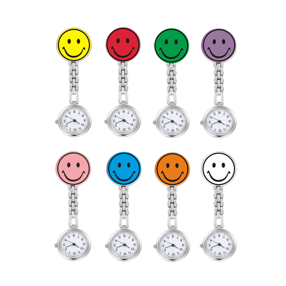 Cartoon Cute Round Smiley Face Women Men Kid Nurse Pocket Watch Stainless Steel Clip-on Fob Brooch Pendant Hanging Watch relogio