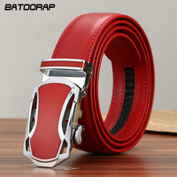 2016 Fashion Mens Luxury Automatic Buckle Belts Red Solid Strap Male Genuine Leather Jeans Cinturones Hombre
