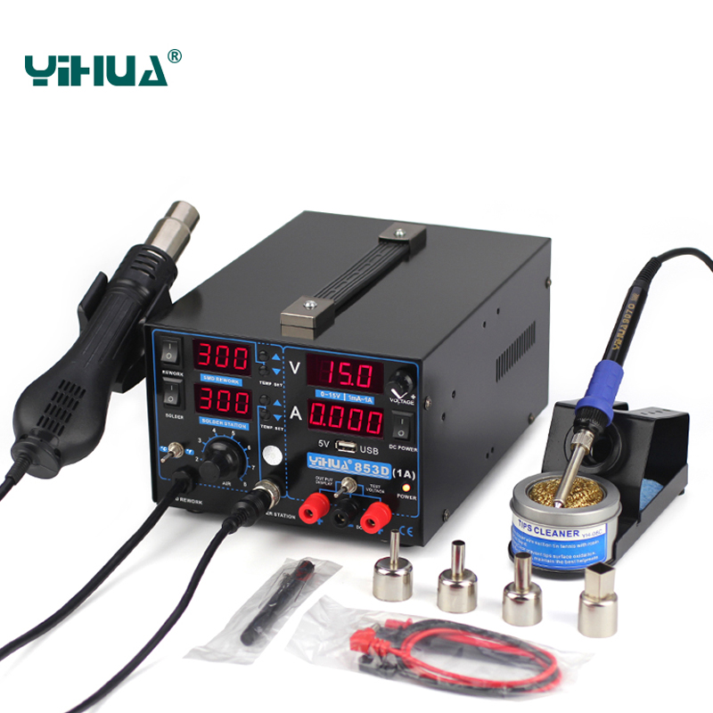 YIHUA 853D 1A USB SMD DC Power Supply Hot Air Gun Soldering Iron Rework Solder Station 110V/220V EU/US PLUG 853d 110v 220v usb hot air gun rework station soldering iron heat gun power supply welding repair solder station led light