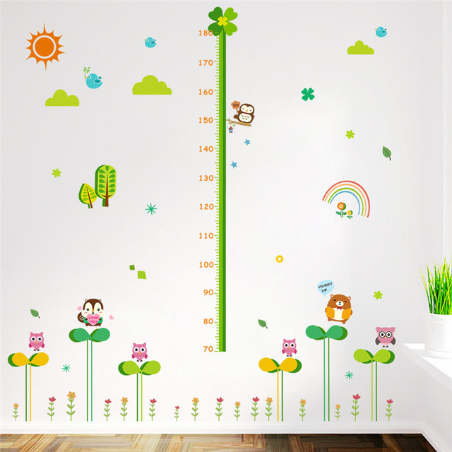 Nature flower plants animals height measure wall for Growth chart for kids room