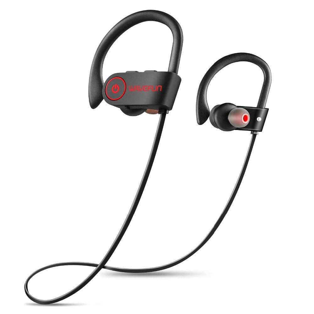 Wavefun bluetooth casque IPX7 étanche sans fil casque sport basse bluetooth écouteurs avec micro pour téléphone iPhone xiaomi