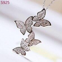 Genuino Real Pure 925 collar colgante de plata para para la hoja de corea Cubic Zircon cadena collar de la joyería de plata fina