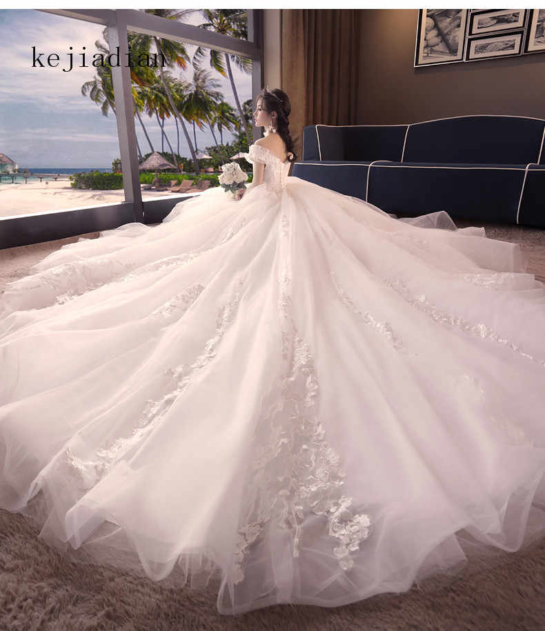 f4369102774 Luxury pearl Ball Gown Wedding Dresses 2019 Sexy Ivory Sweetheart Royal  Train Bridal Gown Wedding Gowns