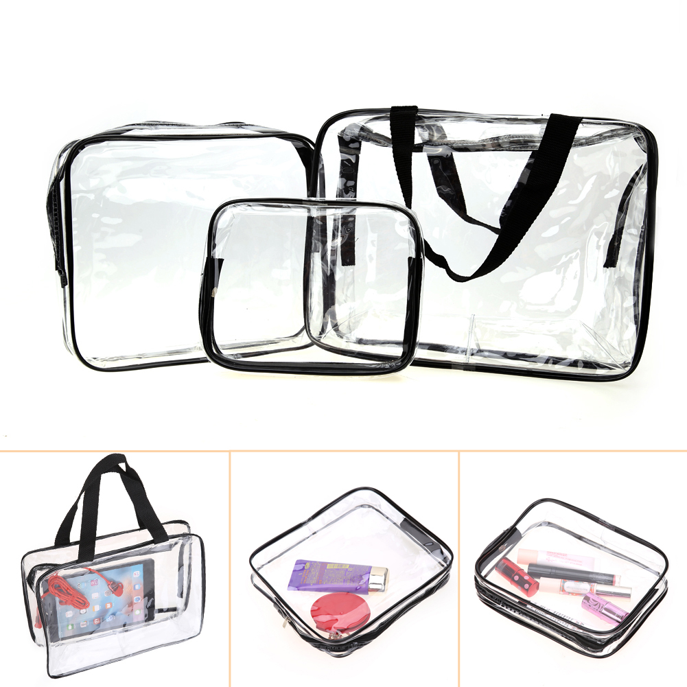 Hot 3pcs Clear Makeup Cosmetic Bags Portable Toiletry Travel Wash Storage Pouch Transparent Waterproof PVC Bag Organizer Cases pvc transparent wash portable organizer case cosmetic makeup zipper bathroom jewelry hanging bag travel home toilet bag