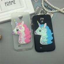 99e8aea9501 3D unicornio arenas movedizas líquido funda de silicona suave para Samsung  Galaxy S4/Mini/