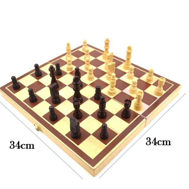 Jeu d'échecs International en bois pliable, jeu d'échecs en bois, échiquier de haute qualité  34cm x 34cm 6