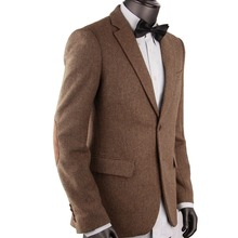 CUSTOM MADE  Dark Brown Mens Herringbone Coat Tweed Sport Blazer Jacket,BESPOKE Jacket Men