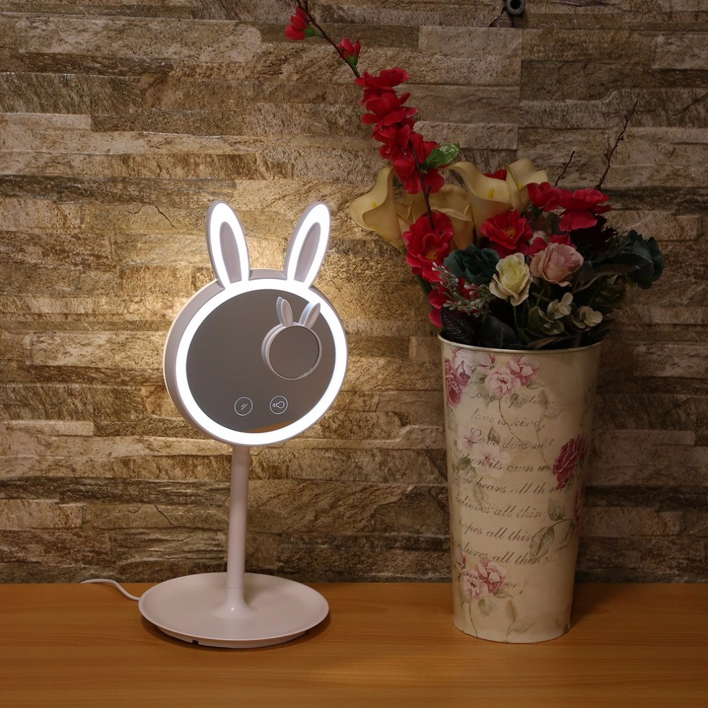 Rabbit Shaped Makeup Cosmetic Mirror Storage Table Lamp Intelligent Touch Switch LED Lights Built-in 1000 mA Lithium Battery 2 in 1 usb led cosmetic makeup mirror dazzle color touch screen led mirror bedroom bedside lamp colorful table lamp mirror