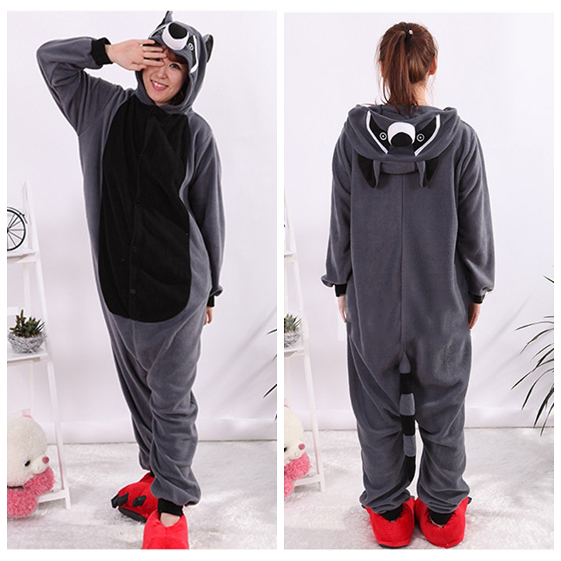 Animal Gray Raccoon Racoon Cosplay Pajamas Adult Carnival Halloween Onesie Pajamas Cosplay Costume Jumpsuit Hoodies Sleepwear