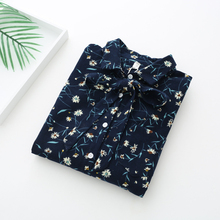 Dioufond 2018 New Style Women Tops Long Sleeve Chiffon Blouse Turn-down Collar Women Fashion Floral Clothing