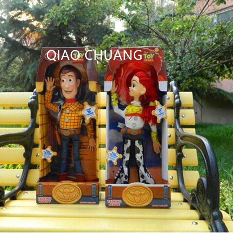 New Hot Toy Story 4Talking Woody Jessie Phonation Educational Decoration Gift PVC Action Figure Collectible Model Toy 40 CM L353 hot selling 70cm bearbrick luxury lady ch be rbrick pvc action figure collectible model toy birthday gift ornaments