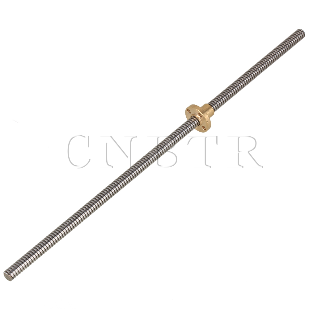 CNBTR 3D Printer Z Axis T8 Lead Screw Linear Rail Bar Shaft L300mm with Brass Nut 3d printer 8x500mm lead screw rod t shape linear rail bar shaft nut 8mm lead stainless steel lead screw for d printer z axis