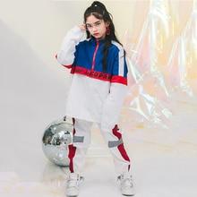Детский костюм в стиле хип-хоп; одежда в стиле хип-хоп; рубашка с длинными рукавами для девочек; черные брюки; Детская уличная одежда; джазовые костюмы; DNV10918