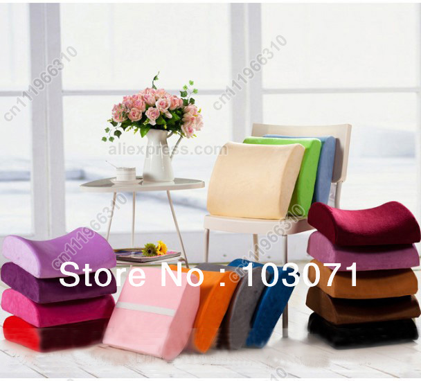 16 Colors High-Resilience Memory Foam Lumbar Back Support Cushion Pillow for Office Home Car Auto Travel Booster Seat Chair