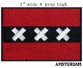 "Amsterdam, Netherlands Flag 3"" wide embroidery patch free shipping for arch/red stripes/white cross"