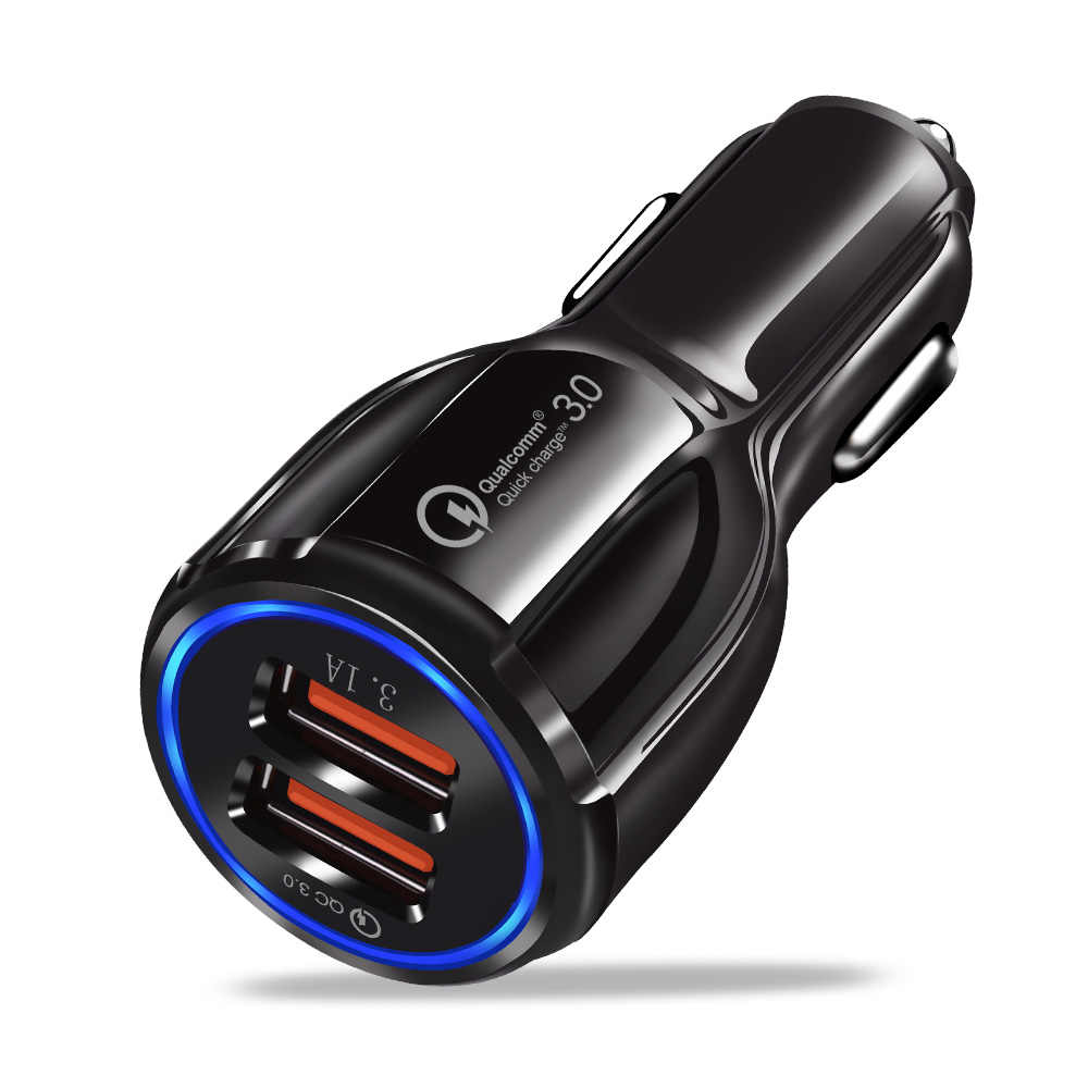 Car USB Charger Quick Charge 3.0 2.0 Mobile Phone Charger 2 Port USB Fast Car Charger for iPhone 7 XR Samsung Tablet Car-Charger